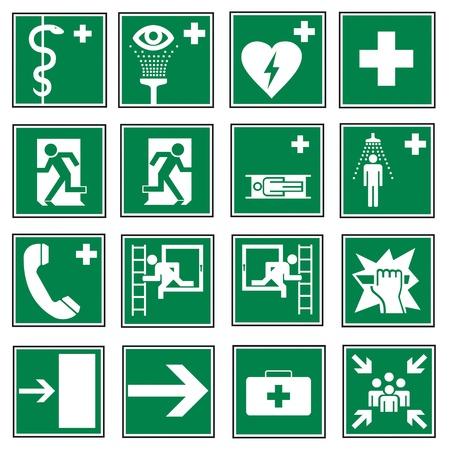 Icon set di segnali di uscita di emergenza