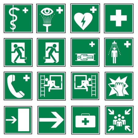 aligned: Rescue signs icon exit emergency set  Illustration