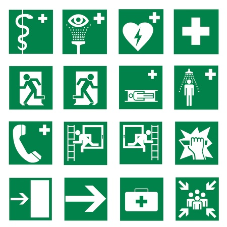 safety sign fire safety signs: Rescue signs icon exit emergency set  Illustration
