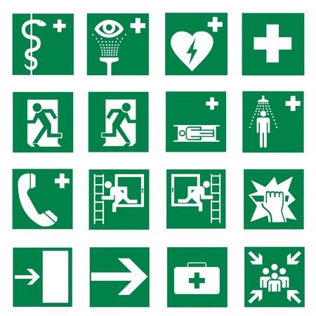 Znaki Rescue ikona exit zestaw awaryjny Ilustracje wektorowe