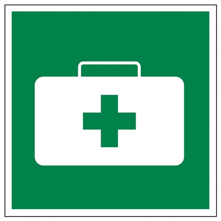 Rescue signs icon exit emergency first aid kit case