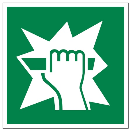 aligned: Rescue signs icon exit emergency break hand