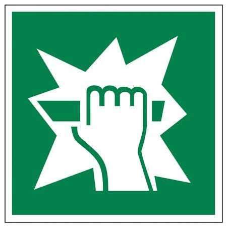 prevencion de accidentes: Se�ales de salida de rescate de emergencia icono de freno de mano Vectores