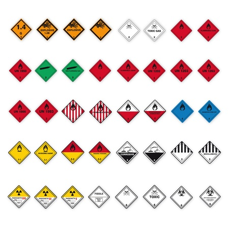 Hazardous substances signs icon flammable skull radioactive hazard corrosive set