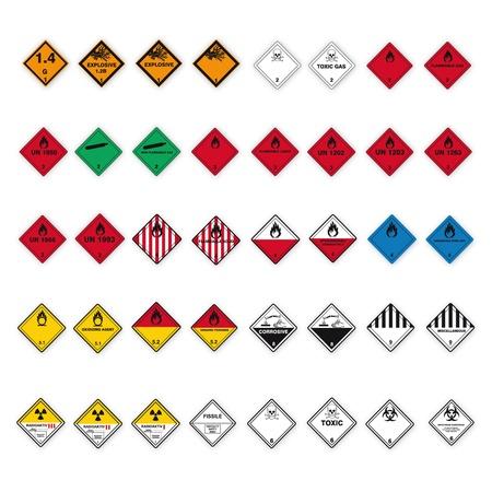 buena salud: Sustancias peligrosas se�ales icono de la calavera de peligro radiactivo inflamables corrosivos conjunto