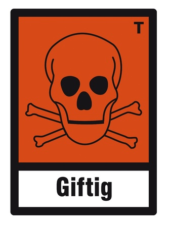 oxidising: safety sign danger sign hazardous chemical chemistry toxic skull Illustration