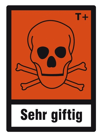 hazardous substances: safety sign danger sign hazardous chemical chemistry high toxic skull Illustration
