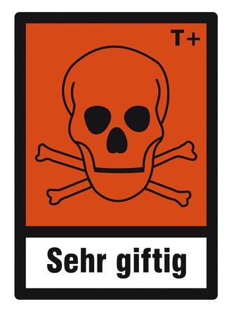 hazardous: segno sicurezza pericolo segno pericolosi chimica chimica tossica cranio Vettoriali