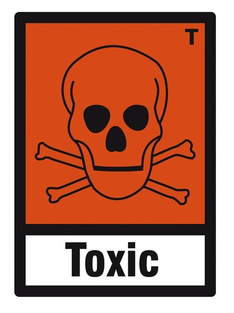 hazardous material: safety sign danger sign hazardous chemical chemistry toxic skull Illustration