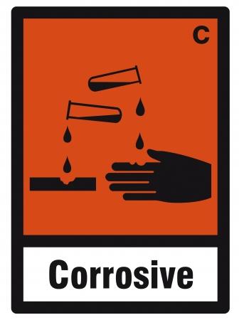 hazardous: segno sicurezza pericolo segno pericolosi chimici corrosivi chimica Vettoriali