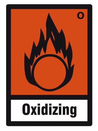 oxidizing: safety sign danger sign hazardous chemical chemistry Oxidizing Illustration