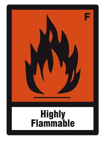 flammable warning: safety sign danger sign hazardous chemical chemistry highly flammable Illustration