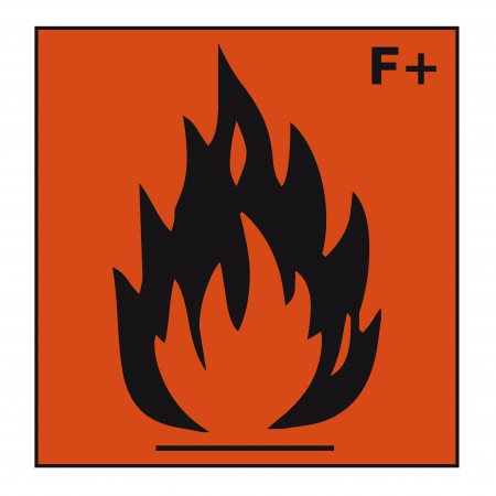 flammable warning: safety sign danger sign hazardous chemical chemistry extremely flammable Illustration
