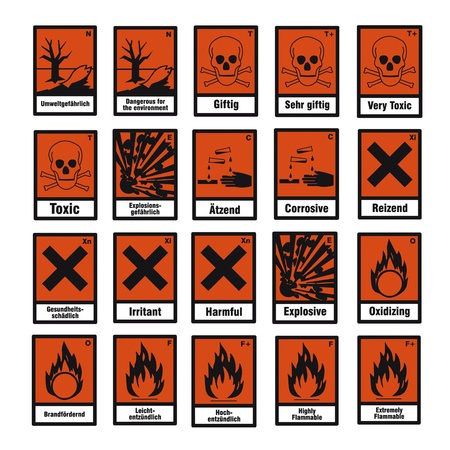 flammable warning: safety sign danger sign hazardous chemical chemistry toxic set