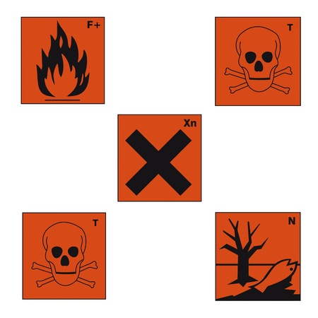 oxidising: safety sign danger sign hazardous chemical chemistry toxic set