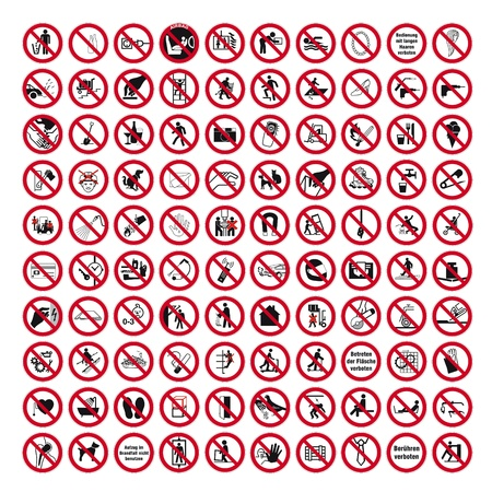 warning signs: Prohibition signs BGV icon pictogram set collection collage