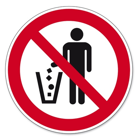 prohibit the production: Prohibition signs BGV icon pictogram Throw waste prohibited Illustration