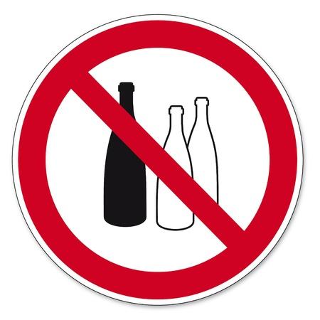 sustancias peligrosas: Prohibici�n signos BGV pictograma icono de llenado de sustancias peligrosas prohibidas en los envases de alimentos Vectores