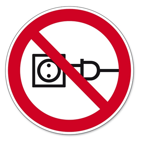 respectfully: Prohibition signs BGV icon pictogram Pull the cable prohibited