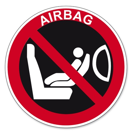 attaching: Prohibition signs BGV icon pictogram Attaching a child seat to seat airbag Secured prohibited