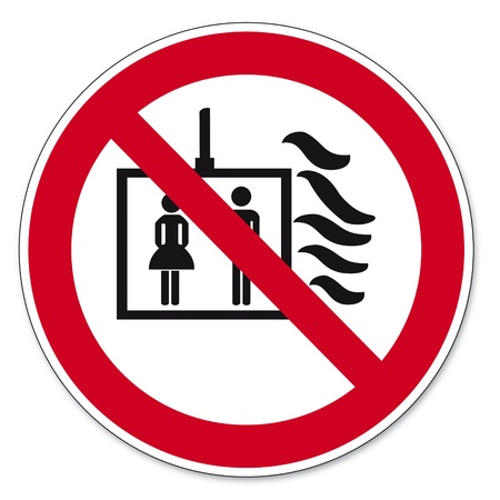 fire circle: Prohibition signs BGV icon pictogram Elevator in case of fire do not use