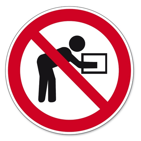 prohibitions: Prohibition signs BGV icon pictogram Performing such lifting operations prohibited