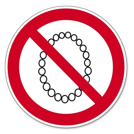 anlge: Prohibition signs BGV icon pictogram Operation prohibited with Necklace