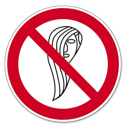 Prohibition signs BGV icon pictogram Operation prohibited with long hair Vector
