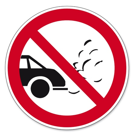 Prohibition signs BGV icon pictogram Turn off the engine while waiting Vector
