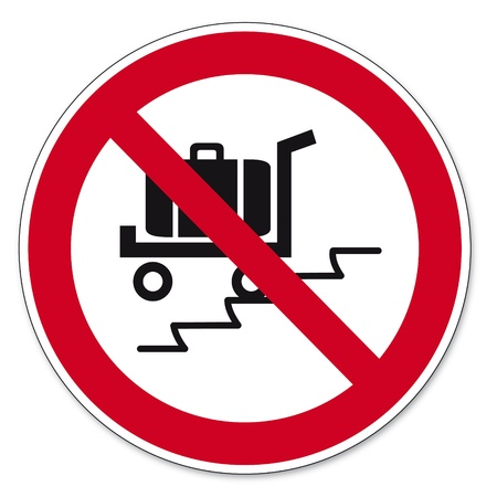 bgv: Prohibition signs BGV icon pictogram Use the escalator with suitcase load cars banned