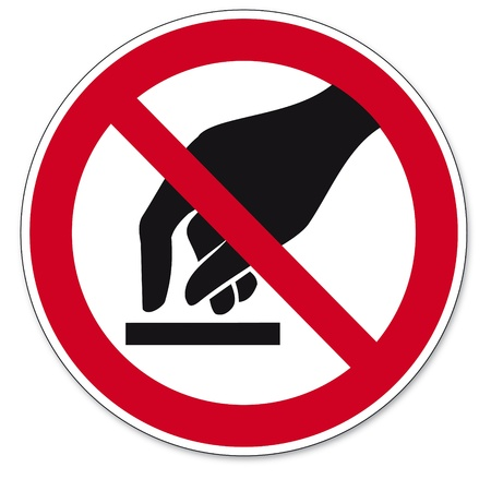 Prohibition signs BGV icon pictogram Do not touch Vector