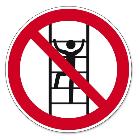 unauthorized: Prohibition signs BGV icon pictogram Climb for unauthorized