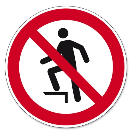 Prohibition signs BGV icon pictogram trespassing Vector