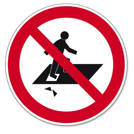 prohibit the production: Prohibition signs BGV icon pictogram Trespassing Through risk of falling