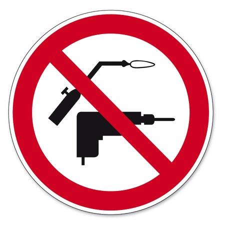 proibido: Proibição sinais BGV ícone pictograma perfuração e soldagem proibida Ilustração