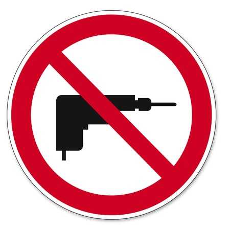 drill: Prohibition signs BGV icon pictogram drilling prohibited drill