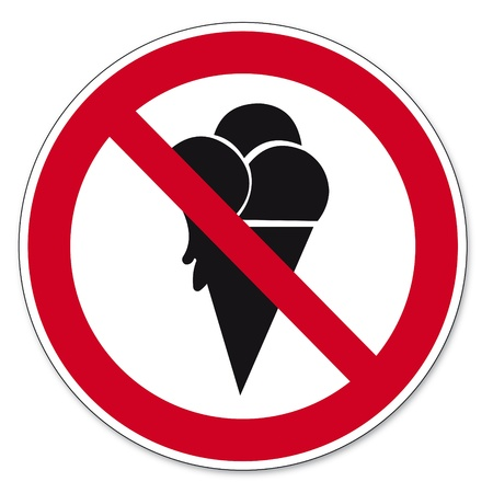 Prohibition signs BGV icon pictogram ice prohibited Vector