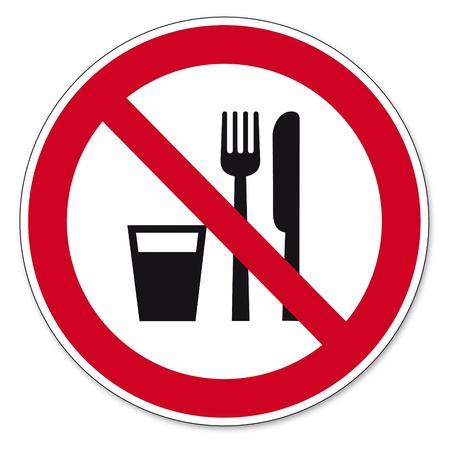 prohibido: Prohibici�n signos BGV icono de alimentos y bebidas prohibidas pictograma