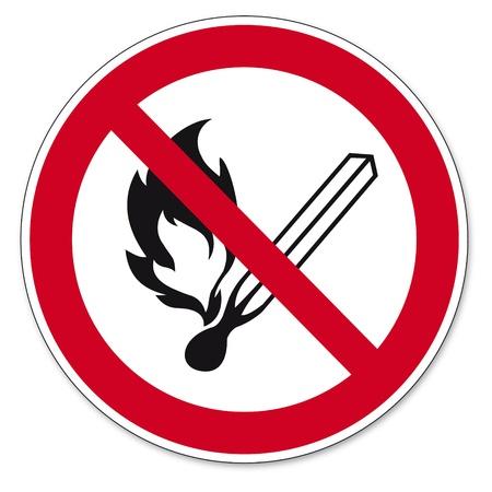 prohibido: Prohibici�n signos BGV pictograma icono de fuego abierto la luz y prohibido fumar