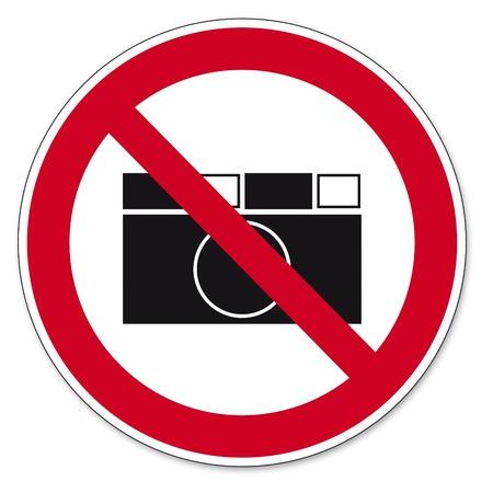 Verbod op borden BGV icoon pictogram fotograferen verboden paparazzi Stock Illustratie