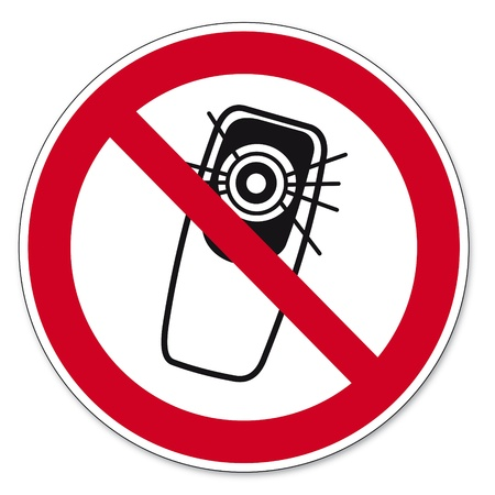Prohibition signs BGV icon pictogram Camera phone use prohibited smartphone Stock Vector - 14513102