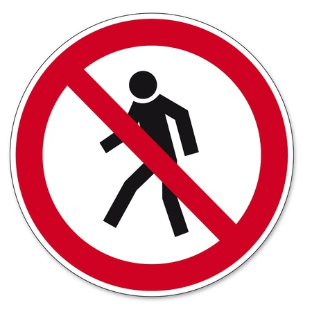 Prohibition signs BGV icon pictogram Prohibited for pedestrians Stock Vector - 14512852