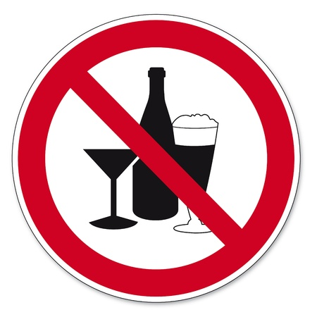 prohibit the production: Prohibition signs BGV icon pictogram Consumption of alcohol prohibited Illustration