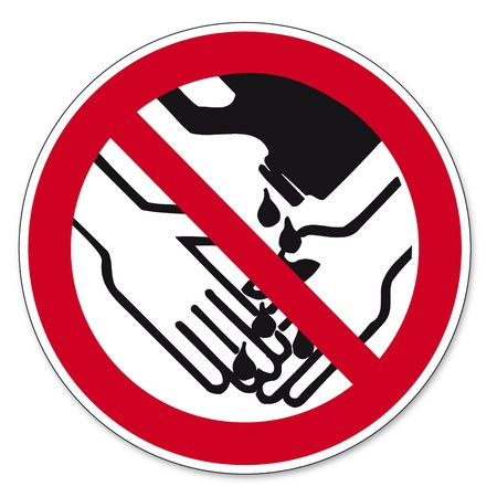 Prohibition signs BGV icon pictogram Hand washing with solvents prohibited Vector