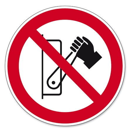 anlge: Prohibition signs BGV icon pictogram Lever pressing prohibited