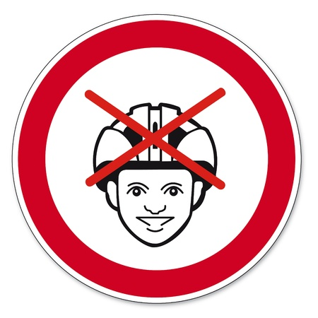 forbade: Prohibition signs BGV icon pictogram helmet ban bike Illustration