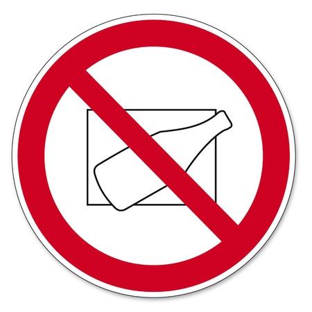 prohibit the production: Prohibition signs BGV icon pictogram Kicking bottles banned