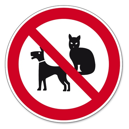 Prohibition signs BGV icon pictogram Dogs and cats ban Vector