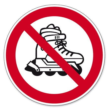 Prohibition signs BGV icon pictogram inline skating prohibited Vector
