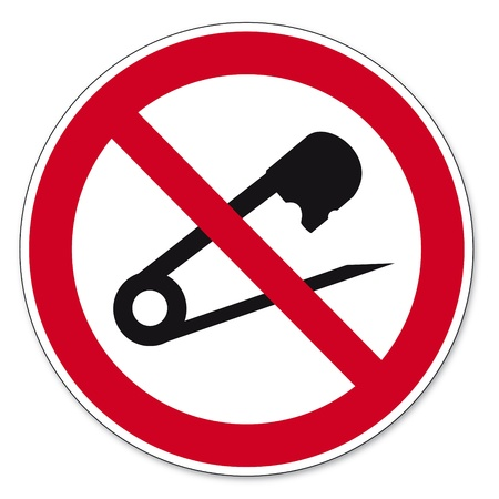 prohibitions: Prohibition signs BGV icon pictogram No needles prick tailor